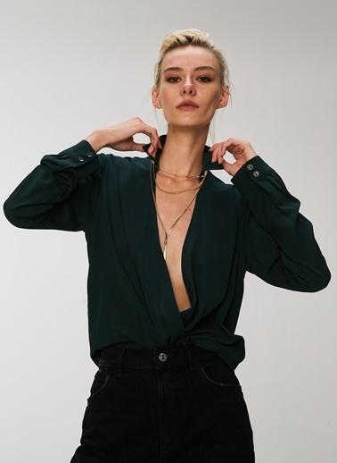People By Fabrika Kruvaze Bluz Yeşil